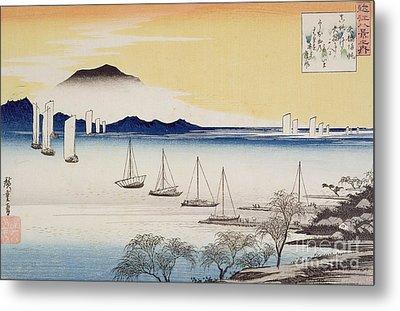 Returning Sails At Yabase Metal Print by Hiroshige