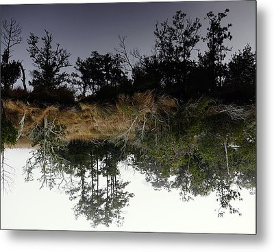 Reverse Reflection On A Crab Fishermans Canal Metal Print