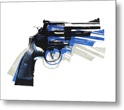 Revolver On White - Right Facing Metal Print