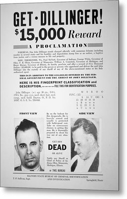 Reward Poster For John Dillinger Metal Print by American School