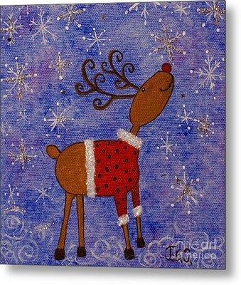 Rex The Reindeer Metal Print by Jane Chesnut