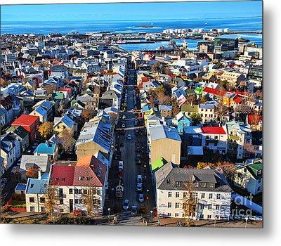 Reykjavik Cityscape Panorama Metal Print by Jasna Buncic