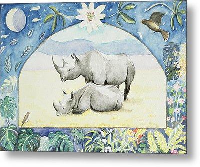 Rhino Month Of February From A Calendar Metal Print by Vivika Alexander