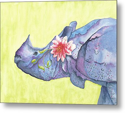 Rhino Whimsy Metal Print by Mary Ann Bobko