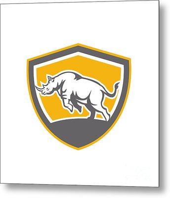 Rhinoceros Charging Side Shield Retro Metal Print by Aloysius Patrimonio