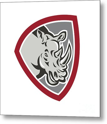 Rhinoceros Head Side Shield Metal Print by Aloysius Patrimonio