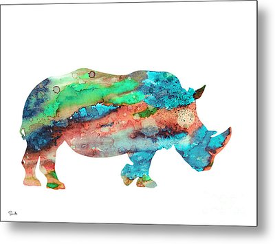 Rhinoceros  Metal Print by Watercolor Girl