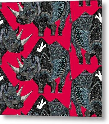 Rhinoceros Red Metal Print