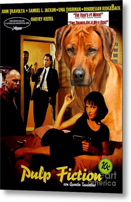 Rhodesian Ridgeback Art Canvas Print - Pulp Fiction Movie Poster Metal Print