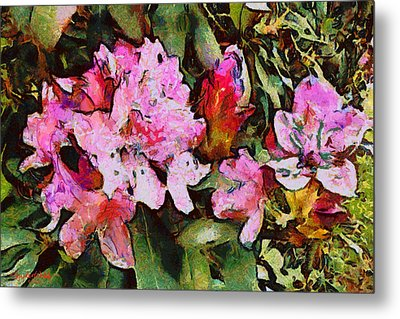 Metal Print featuring the digital art Rhododendrons One by Spyder Webb
