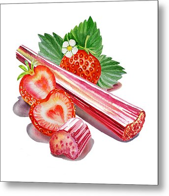 Metal Print featuring the painting Rhubarb Strawberry by Irina Sztukowski