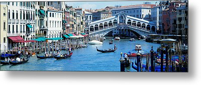 Rialto Bridge & Grand Canal Venice Italy Metal Print by Panoramic Images