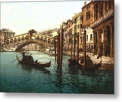 Rialto Bridge Venice Italy Refurbished Metal Print by L Brown