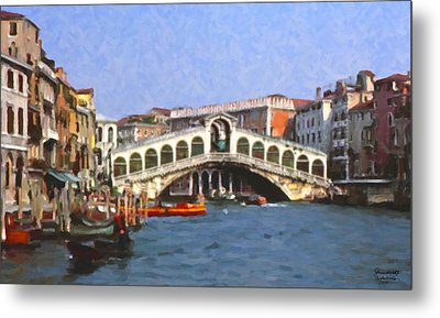 Rialto Bridge Venice Metal Print by Spyder Webb