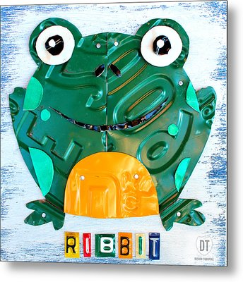 Ribbit The Frog License Plate Art Metal Print by Design Turnpike