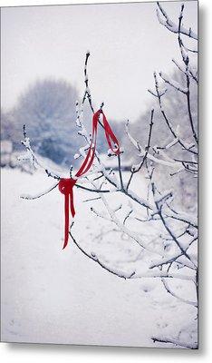 Ribbon In Tree Metal Print by Amanda Elwell