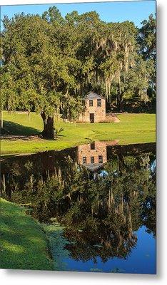 Rice Mill  Pond Reflection Metal Print
