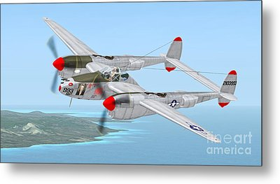 Richard Bong's P-38 Lightning Marge Metal Print by Walter Colvin