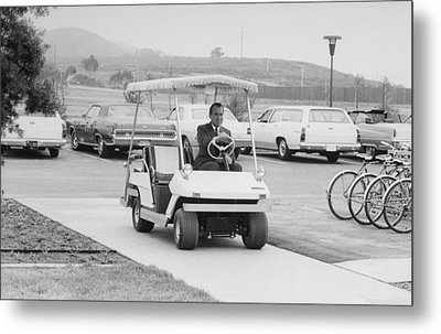 Richard Nixon Driving A Golf Cart Metal Print by Everett