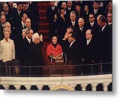 Richard Nixon Taking The Oath Of Office Metal Print by Everett