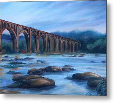 Metal Print featuring the painting Richmond Train Trestle by Donna Tuten