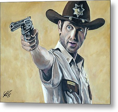 Rick Grimes Metal Print by Tom Carlton