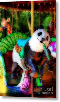 Ride The Panda Metal Print