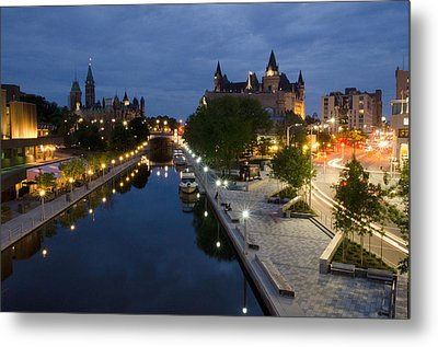Rideau Canal And Sussex Drive At Night Metal Print