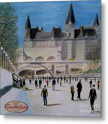 Rideau Canal Winterlude Metal Print by John Lyes