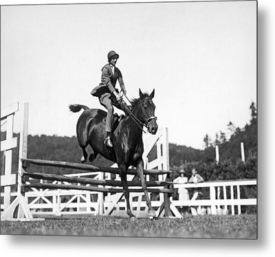 Rider Jumps At Horse Show Metal Print by Underwood Archives