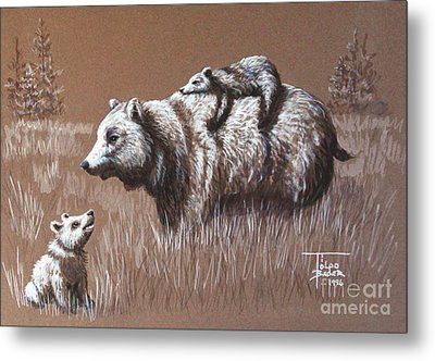 Riding Bear Back Metal Print