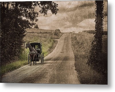 Riding Down A Country Road Metal Print by Tom Mc Nemar