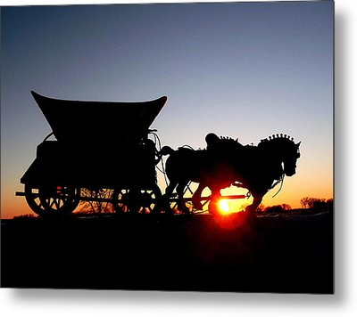 Riding Into The Sunset Metal Print by Larry Trupp