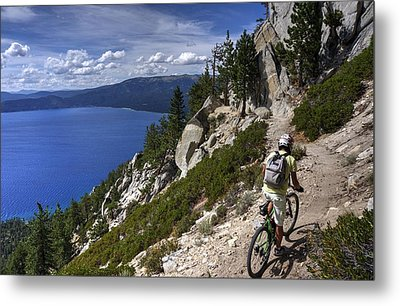 Riding The Flume Trail Metal Print by Peter Thoeny
