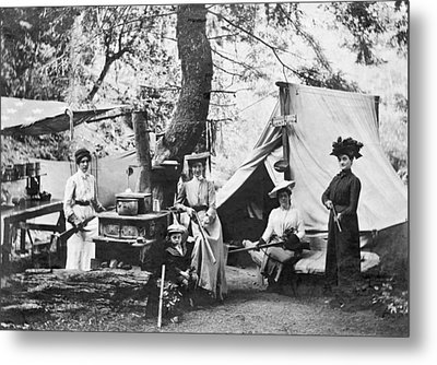 Rifle Women In Camp Metal Print by Underwood Archives