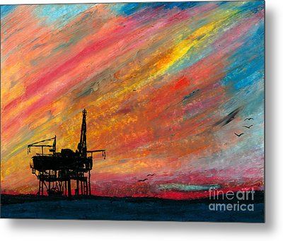 Rig At Sunset Metal Print