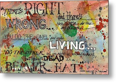 Metal Print featuring the mixed media Right And Wrong by Tim Oliver