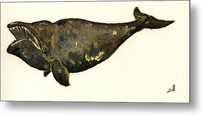 Right Whale Metal Print by Juan  Bosco