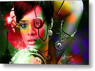 Rihanna Over Rihanna Metal Print by Marvin Blaine