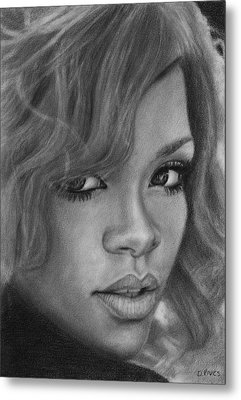 Rihanna Pencil Drawing Metal Print