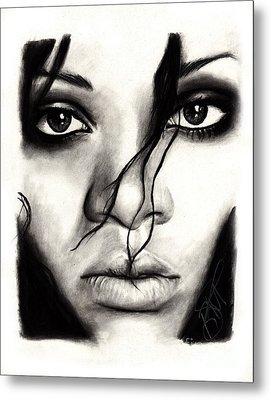 Rihanna Metal Print by Rosalinda Markle
