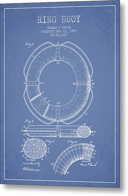 Ring Buoy Patent From 1909 - Light Blue Metal Print by Aged Pixel