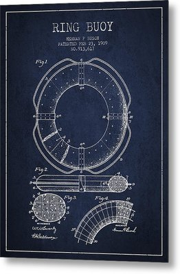 Ring Buoy Patent From 1909 - Navy Blue Metal Print by Aged Pixel