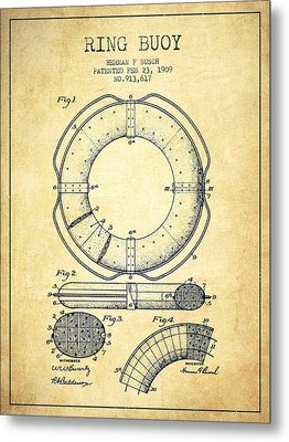 Ring Buoy Patent From 1909 - Vintage Metal Print by Aged Pixel