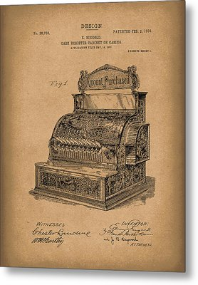 Ringold Cash Register 1904 Patent Art Brown Metal Print by Prior Art Design