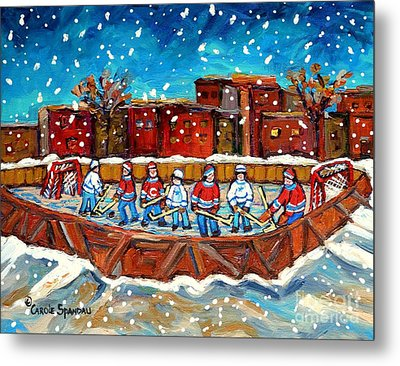 Rink Hockey Game Little Montreal Superstars Montreal Memories Snowy City Scene Carole Spandau Metal Print by Carole Spandau