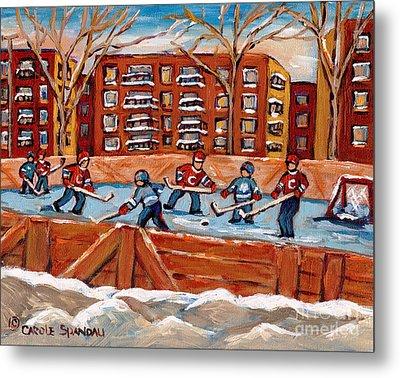 Rink Hockey Game-winter Scene Painting-montreal Street Scenes Metal Print by Carole Spandau