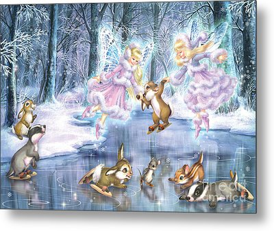 Rink In The Forest Metal Print by Zorina Baldescu
