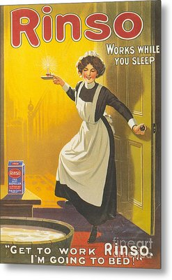 Rinso 1910s Uk Washing Powder Maids Metal Print by The Advertising Archives