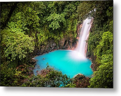 Rio Celeste Waterfall Metal Print by Andres Leon